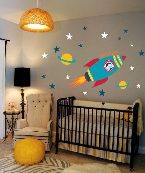 Um foguete, alguns planetas e estrelas: o Espaço Sideral está montado! (Fonte: Etsy https://www.etsy.com/listing/166508980/rocket-wall-decal-boys-name-outer-space)