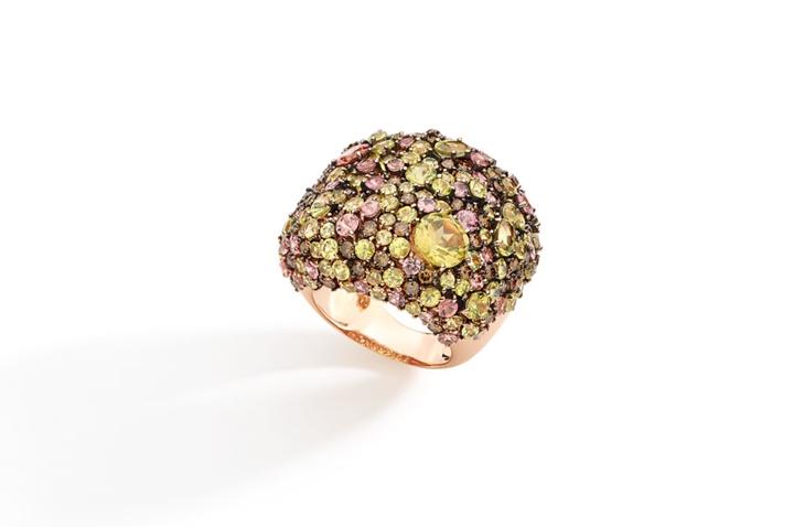 Anel em ouro rose com diamante brown, crisoberilo e granada mandarim Viccenza