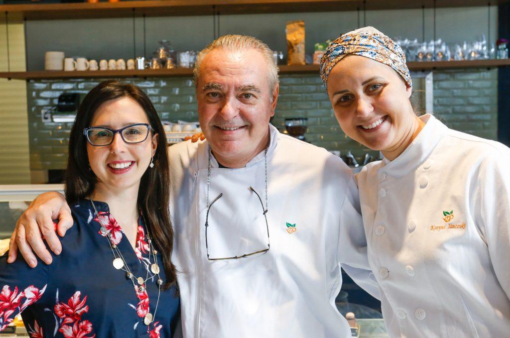 Danio Braga (chef), Aline Quissak (nutricionista), Karyne Iancóski (chef)